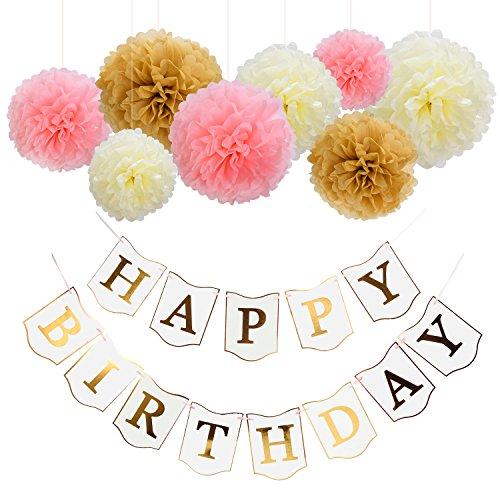 Preisvergleich Produktbild Mudder Happy Birthday Banner Weiß und Papier Pompons Blumen mit 4 Meter Band für Geburtstag Party Dekoration