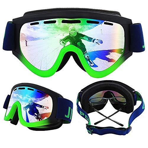 Exquisite Skibrille Professionelle UV400, doppeltes Gläser, zylindrische Brille, für Outdoor-/Ski-/Cross-Country-Brille, Anti-Beschlag, doppelschichtig, sanddicht, Grün