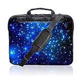 TaylorHe Housse Sacoche en Nylon pour Ordinateur Portable 15 pouces/15,6 pouces avec des poches latérales de la poignée et bandoulière étoiles, bleu