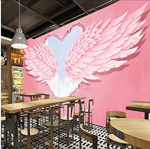 Whwd Moderne Mode 3D Rosa Herz Engelsflügel Industriedekor Fototapete Hot Online Suche Red Cafe Dessert Shop Wallpaper-400X280Cm