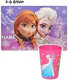 2 TLG. Set _ 3-D Effekt Unterlage & Trinkbecher -  Disney die Eiskönigin / Frozen  - incl. Name - Tischunterlage - 42 cm * 29 cm / Platzdeckchen / Malunterl..