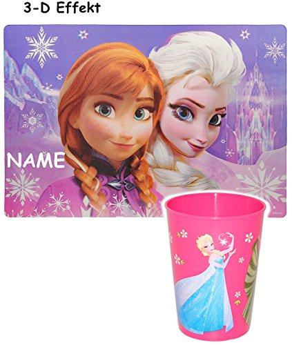 alles-meine.de GmbH 2 TLG. Set _ 3-D Effekt Unterlage & Trinkbecher -  Disney die Eiskönigin / Frozen  - incl. Name - Tischunterlage - 42 cm * 29 cm / Platzdeckchen / Malunterl.. (Mädchen-knete-sets)