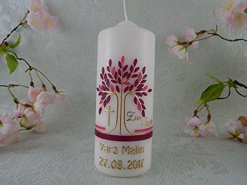 Patenkerze Lebensbaum gold brombeere handmade Wachs Taufkerzen für Junge Mädchen 150/60 mm mit Name und Datum - 2