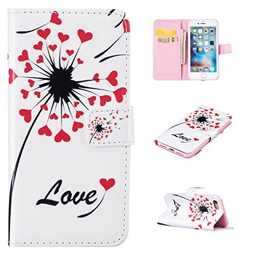 """MOONCASE iPhone 7 Coque, [Dandelion Lover] Modèle Housse Pochette en Cuir Etui à rabat portefeuille [Porte-cartes] TPU Case avec Béquille pour Apple iPhone 7 4.7"""" Love Dandelion"""