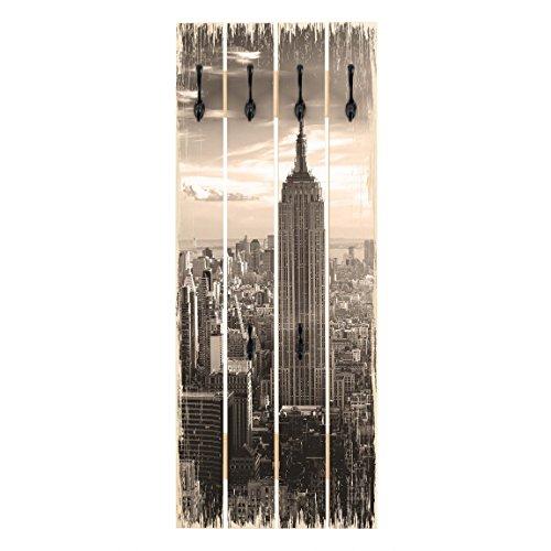 Bilderwelten Perchero de madera - Top 8 Wall Coat Rack, percheros, perchero de pared, perchero pared, percheros pared, percheros modernos, Motivo: Manhattan Skyline, Tamaño: 100x40cm incl. ganchos negro
