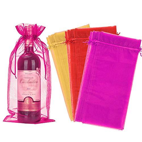 Perfetsell Bolsas para Botellas de Vino de Organza