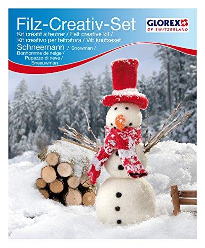 Glorex GmbH 6 2902 608 - Filz-Creativ-Set Schneemann, 7x20cm