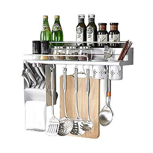 X&MX Küchenregal, Multifunktionale Wandbehang Aluminium Regale Gewürz Flaschenregale Freistehende Messer Slot Hooks Topf Organisatoren Für Küche Organisation,60Cm