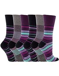Gentle Grip - calcetines mujer sin goma colores fantasia estampados de algodon tamaño 37-42 eur