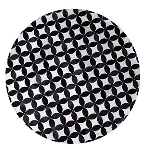 Rugs Carpet Round Carpet Black and White Circle Carpet Mosaic Leather Bedroom Living Room Coffee Table Carpet Balcony Chair Mat Computer Chair Blanket Child Learning Area Mat