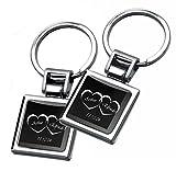 Gravurenalarm® Schlüsselanhänger Schwarz (2 Stück) / Paaranhänger in gleichem Design