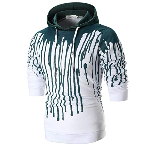 UFACE Herren Longsleeve Bedrucktes Hoodie Kapuzenpullover Top Tee Outwear Bluse 3D Print Langarm Kapuzen-T-Shirt(Grün,M