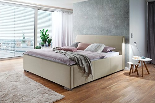 meise.möbel Polsterbett mit Bettkasten Lattenrost Metallfüße Stoffbezug l 180x200 l Beige