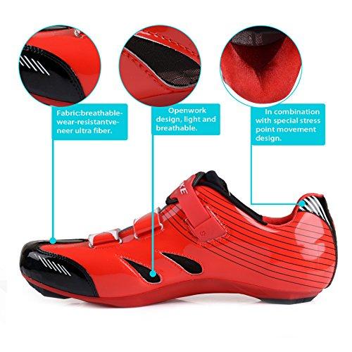 Unisexe respirant chaussures de vélo professionnels pour route et VTT SD-003 Noir / Rouge pour le Route