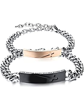Oidea 1 Paar(2PCS) Herren Damen Armband, Edelstahl