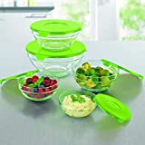 Kurtzy Glass Container Storage Organizer Bowl Mixing Transparent Preservation with Lid for Kitchen Multipurpose Set of 5 Assorted Colors
