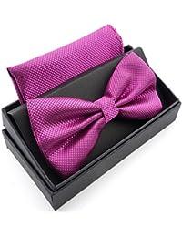 Massi Morino ® Nœud Papillon (régable) Mouche Hommes pré-liées avec Mouchoir y Compris boîte Cadeau