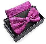 MASSI MORINO Fliege mit Einstecktuch inkl. Geschenkbox, verstellbare Designer Schleife in verschiedenen Farben (Lila)