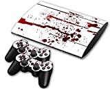 Sony PS3 Playstation 3 Super Slim Skin Design Foils Aufkleber Schutzfolie Set - Blood Motiv