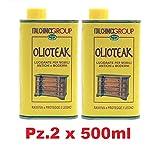 Olio TEAK Lucidante per Mobili Antichi e Moderni Pz.2x500ml Ravviva Protegge il Legno