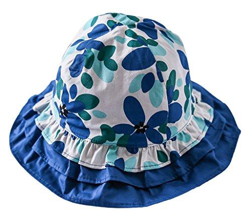 Bigood Chapeau Bébé Fille Coton Bonnet Souple Protection Soleil Plage Fleur Imprimé Tour de Tête 50cm