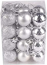 Fizzytech Christmas Xmas Tree Silver Ball Bauble Hanging Party Ornament