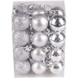 Fizzytech Christmas Xmas Tree 3cm Silver Ball Bauble Hanging Party Ornament (Pack of 12 3CM)