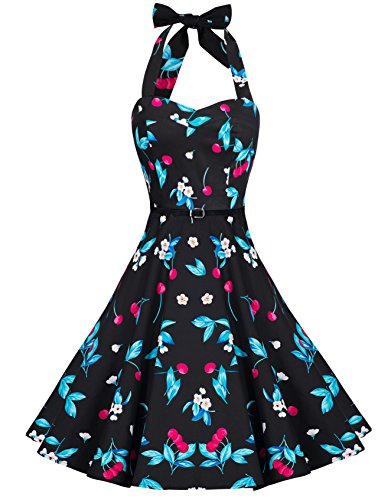 Zarlena Damen 50er Retro Rockabilly Pola Dots Petticoat Neckholder Kleid schwarz/Kirschenmuster 3X-Large DROD-BLK-CRY-3XL