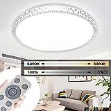 MYHOO 48W LED Deckenleuchte Wandlampe Kristall Deckenlampe Deckenbeleuchtung Dimmbar Schlafzimmer Wohnzimmer Flurlampe Rund