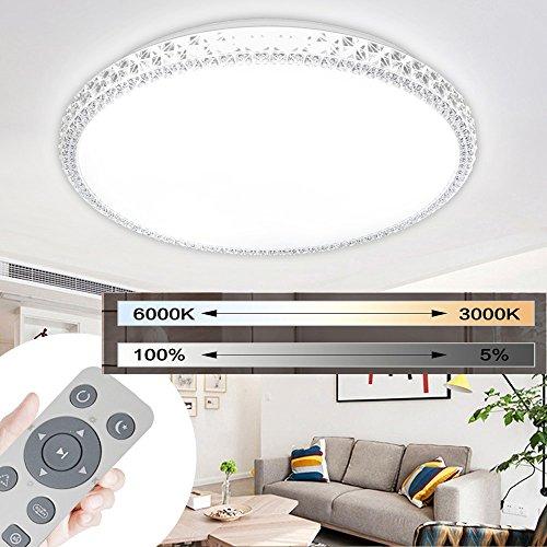 Preisvergleich Produktbild MYHOO 48W LED Deckenleuchte Wandlampe Kristall Deckenlampe Deckenbeleuchtung Dimmbar Schlafzimmer Wohnzimmer Flurlampe Rund