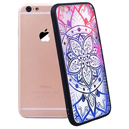 WE LOVE CASE Coque iPhone 6 Plus, Coque Transparente de Protection en Premium Hard Plastique Clair Dur Mince Coque iPhone 6S Plus Anti Choc Bumper, Anti-Rayures Anti-dérapante Coque Apple iPhone 6 Plu Mandala