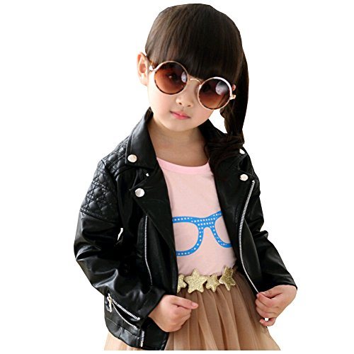 LSERVER Kinder Lederjacke Cool und Vintage Jacke Faux Leather Mantel Motorradjacke, Schwarz, 122/128(Fabrikgröße: 130)