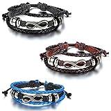Oidea 3PCS Herren Damen Armband, Lieben Infinity Zeichen Charms, Geflochten Wickel Armband Armreif, Verstellbare Größe, Leder Legierung, Schwarz Braun Blau