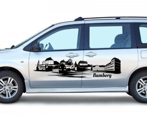 Autoaufkleber Bamberg Tattoo XXL Skyline Car Sticker Auto Aufkleber Stadt 1M289, Farbe:Azurblau glanz;Skyline Länge:120cm