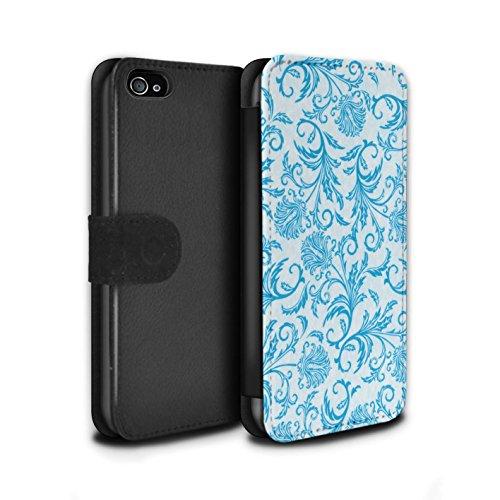 Stuff4 Coque/Etui/Housse Cuir PU Case/Cover pour Apple iPhone 4/4S / Fleurs Jaunes Design / Fleurs Collection Fleurs Bleues