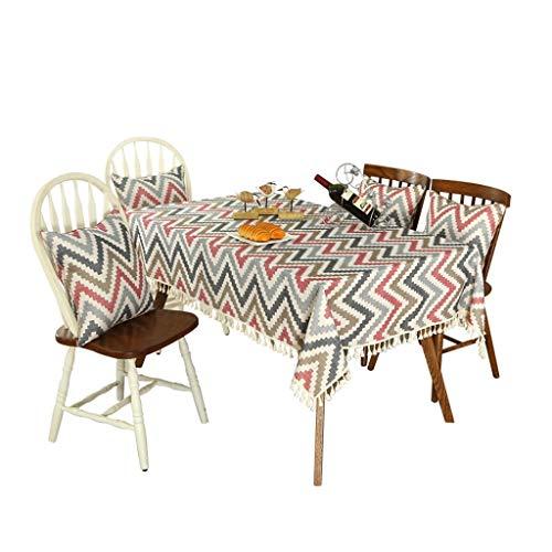 Unbekannt Rechteck Tischdecke Classic Ripple Series Baumwolle Leinen Tischdecke Staubdicht Tischabdeckung for Küche Esstisch Home Decor (Color : B, Size : 150cm*200cm) -
