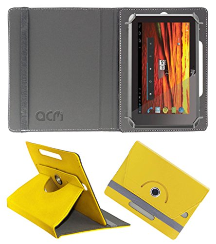 Acm Rotating 360° Leather Flip Case for Hcl Me Y3 Cover Stand Yellow  available at amazon for Rs.149