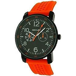 Henley analoge Herrenuhr, schwarz & orange, gr. Zifferblatt, Gummiband H02088.8
