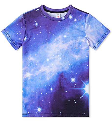 Youth Graphic T-shirt (Idgreatim Cool Youth Graphic T-Shirts 3D Print Galaxy Kurzarm Coole Strand-T-Shirts Tops Jungen Mädchen)