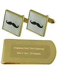 Bigote de tono Oro gemelos Money Clip grabado Set de regalo