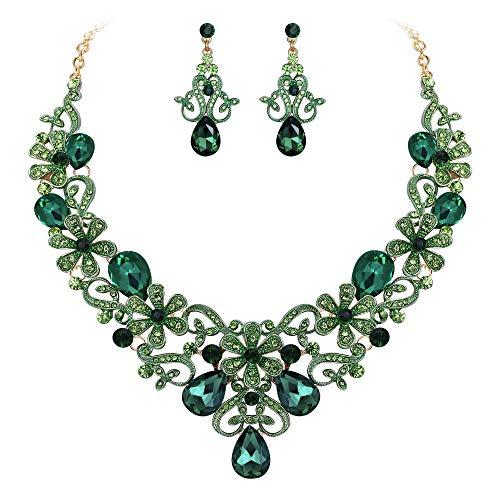 Clearine Damen Schmuckset kostüm Elegante Kristall Blume Scrollen Teardrop Opulente Halskette Baumeln Ohrringe Set Smaragd-Grün - Smaragd Grünen Kostüm Schmuck Sets