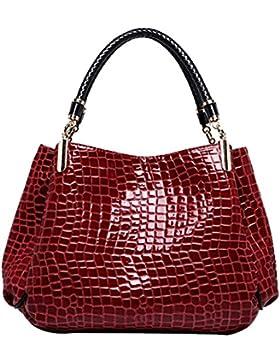AiSi Damen Lack Leder Handtasche / Damenhandtasche / Henkeltasche mit Reißverschluss rot schwarz