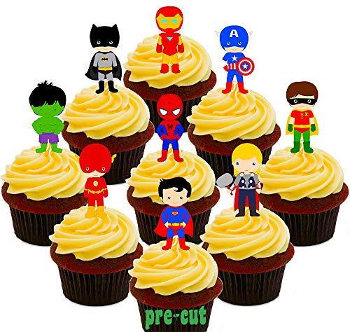 Superman Party Dekorationen - Made4You Tortendekoration mit Superhelden-Motiven, essbar, zum