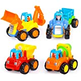 NUOLUX 4pcs Cartoon Friction Powered Play Vehicles Construction Vehicles Engineering Car Team Toys For Kids