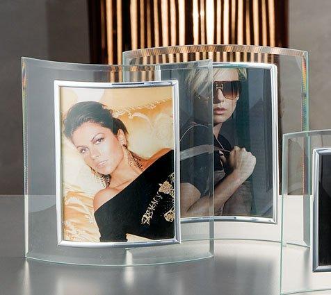 Cornice portafoto 9x13 vetro curva verticale
