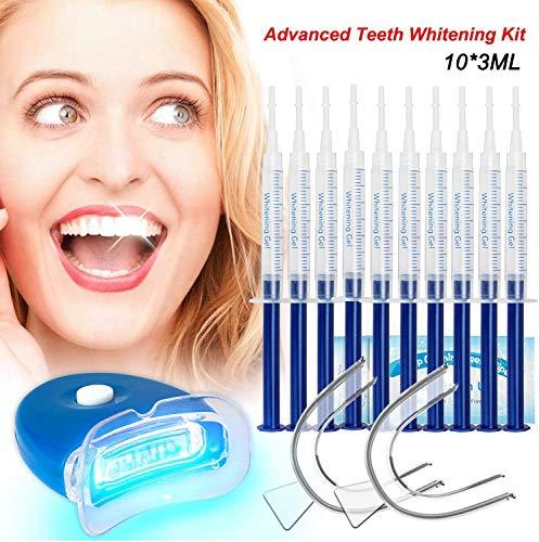 Teeth Whitening Kit Bleaching Gel Professionelle Zahnaufhellung für zähne Weiss Teeth Bleaching set-10x 3ML Whitening GEL, 1x LED Light, 2x Mouth Trays, 1x Lab Dip & 5x Free Teeth Wipe, MEHRWEG