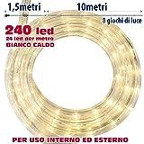TUBO LUMINOSO 240 LUCI LED BIANCO CALDO 10 METRI CON CONTROLLER 8 FUNZIONI, PER USO INTERNO ED ESTERNO