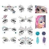 Mlife Face Gems - 8 Stück temporäre Tattoo Gesicht Juwelen Crystal Body Glitter Gesicht Aufkleber Körper Schmuck Kunst mit zwei Boxen Glitter Pulver