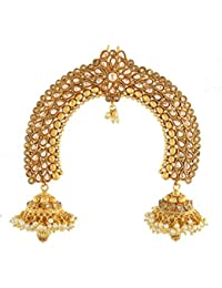 Anuradha Art Gold Tone Studded With Peach Stones Ambada Pin/Hair Brooch For Women/Girls