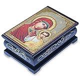 Virgin Mary in rot und Jesus Rosenkranz aus Holz Box